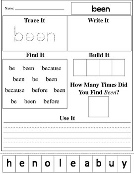 Dolch 2nd Grade Practice Worksheets