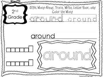 Dolch 2nd Grade Read, Trace, Write, Box Write, Color Worksheets. Sight Words.