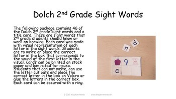 Dolch 2nd Grade Sight Word Activity