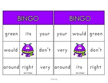 Dolch 2nd Grade Words Bingo