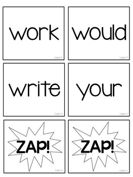 Dolch 2nd (Second) Grade Printable Sight Words ZAP! Game