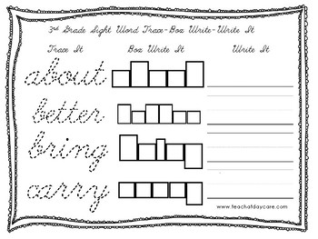 Dolch 3rd Grade Cursive Trace, Box Write, Write worksheets ...