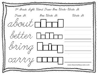 dolch 3rd grade cursive trace box write write worksheets prek 2nd grade. Black Bedroom Furniture Sets. Home Design Ideas