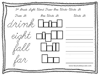 Dolch 3rd Grade Cursive Trace, Box Write, Write worksheets. PreK-2nd Grade.