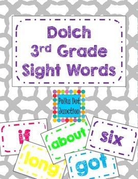 Dolch 3rd Grade Sight Word Flash Cards/Word Wall Cards in White
