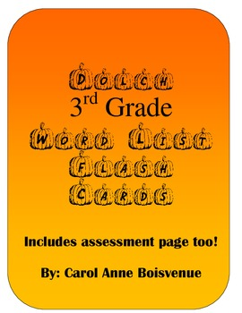 Dolch 3rd Grade Sight Word Pumpkin Flash Cards