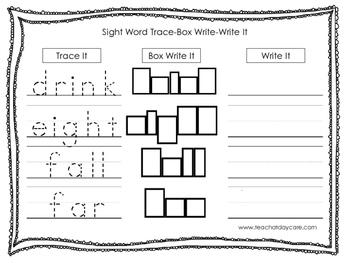 Dolch 3rd Grade Trace, Box Write, Write worksheets.  Preschool-3rd Grade