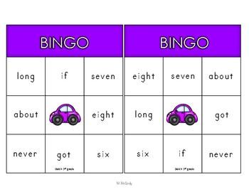 Dolch 3rd Grade Words Bingo