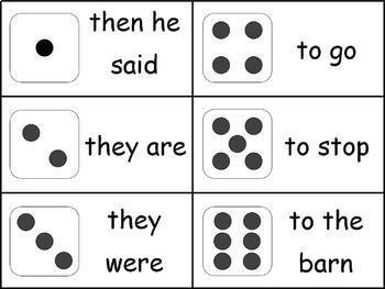 Sight Word Games Bundle - 4 SCOOP! Games and 3 Phrase Dice Roll Sets