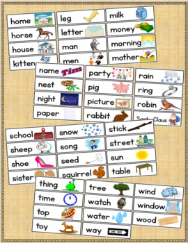 Dolch 95 Nouns Pocket Chart and/or Word Wall Cards