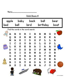 Dolch 95 Nouns Practice Worksheets