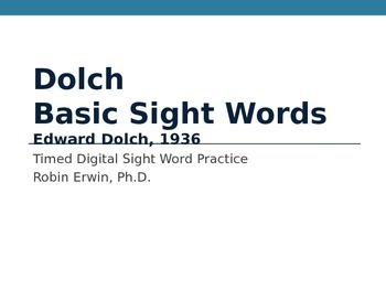 Dolch Basic Sight Words Sample