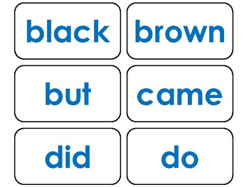 Dolch Blue Bold Text Primer Sight Word Flash Cards in a PDF file. PreK-KDG flash