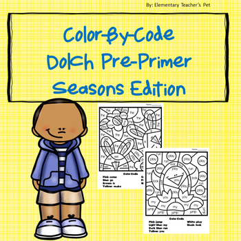 Dolch Color-By-Code Pre Primer-Seasons Edition