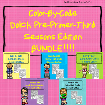 Dolch Color-By-Code Seasons Edition- GROWING BUNDLE