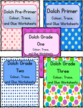 Dolch Colour and Trace Practice Worksheets - 5 Set Bundle