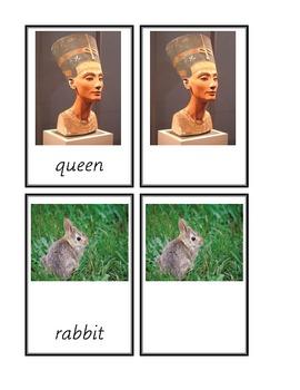 Dolch Common Nouns Q-Z 3-part cards