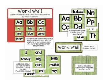 Dolch Complete Word Wall -Apple Green Plaid - All Alphabet & Sight Word Cards