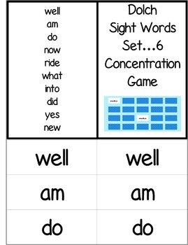Dolch Words Activity - Concentration or Memory Game