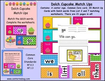 Dolch Cupcake Match Ups (RF.K.3, RF.1.3)