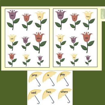 Dolch Pre-Primer Words File Folder Game: April Showers Bring May Flowers