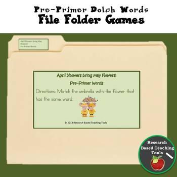 Dolch File Folder Game Pre-Primer Words: April Showers Bri