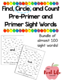 Find and Count Sight Word Work Center Pre-Primer and Prime
