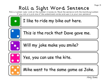 Dolch First 100 Words - Roll a Sight Word Sentence Activity