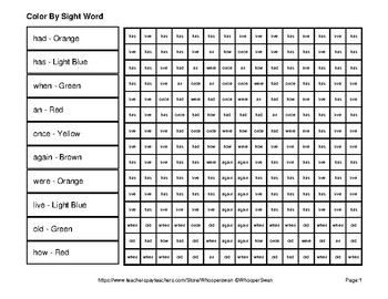 Dolch First Grade: Color by Sight Word - Autumn (Fall) Mystery Pictures