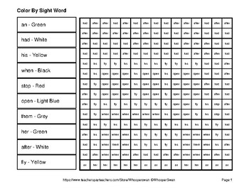 Dolch First Grade: Color by Sight Word - Back To School Mystery Pictures