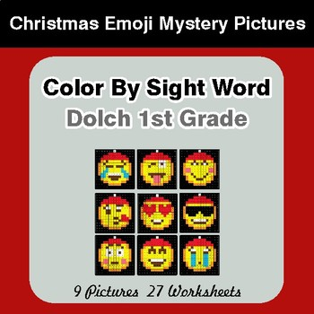 Dolch First Grade: Color by Sight Word - Christmas Emoji Mystery Pictures