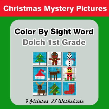 Dolch First Grade: Color by Sight Word - Christmas Mystery Pictures