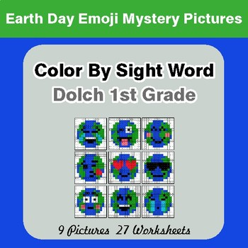 Dolch First Grade: Color by Sight Word - Earth Day Emoji Mystery Pictures