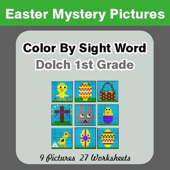 Dolch First Grade: Color by Sight Word - Easter Mystery Pictures