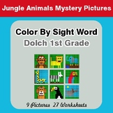 Dolch First Grade: Color by Sight Word - Jungle Animals Mystery Pictures