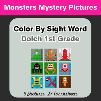Dolch First Grade: Color by Sight Word - Monsters Mystery Pictures