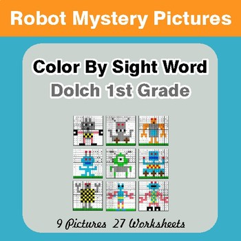 Dolch First Grade: Color by Sight Word - Robots Mystery Pictures