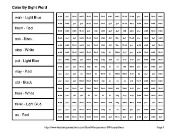 Dolch First Grade: Color by Sight Word - Spring Mystery Pictures