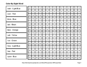 Dolch First Grade: Color by Sight Word - St. Patrick's Day Mystery Pictures