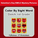 Dolch First Grade: Color by Sight Word - Valentine's Day Emoji Mystery Pictures