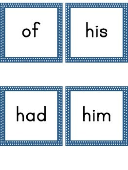 Dolch First Grade Flashcards Blue Dot