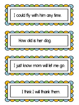 Dolch First Grade Fluency Sentences, Flashcards and Assessment Materials