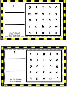 Dolch First Grade Sight Vocabulary Word Search Sliders