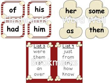 Dolch First Grade Sight Word Assessment Pack Popcorn Theme - CCSS Aligned