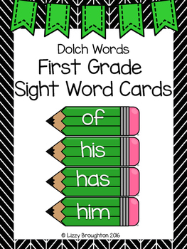 Dolch First Grade Word Wall Sight Word Cards- Green