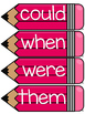 Dolch First Grade Word Wall Sight Word Cards- Pink