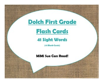 Dolch First Grade Sight Word Flash Cards (Burlap and Turquoise)