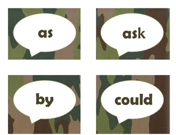 Dolch First Grade Sight Word Flash Cards (Camo)