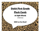 Dolch First Grade Sight Word Flash Cards (Cheetah/Leopard with Black Lettering)