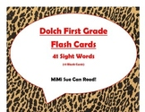 Dolch First Grade Sight Word Flash Cards (Cheetah/Leopard with Red Lettering)